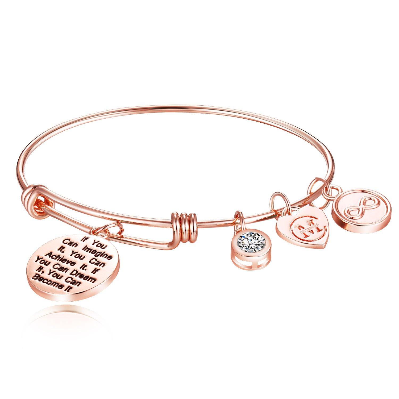 Inspirational Charm Engraving Bangle Bracelet for Sisters Friendship