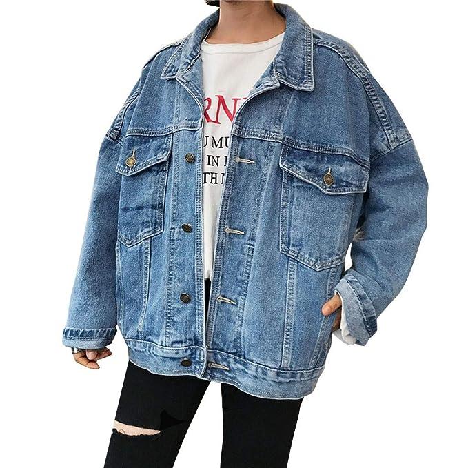 JURTEE Giacca Jeans Vintage Denim Cappotto Maniche Lunghe