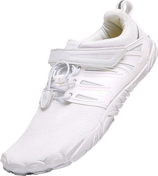 PAGCURSU Zapatillas Minimalistas para Correr y Caminar Descalzos para Hombre | Caja de Dedo Ancha, Color Blanco, Talla 42 2/3 EU: Amazon.es: Zapatos y complementos