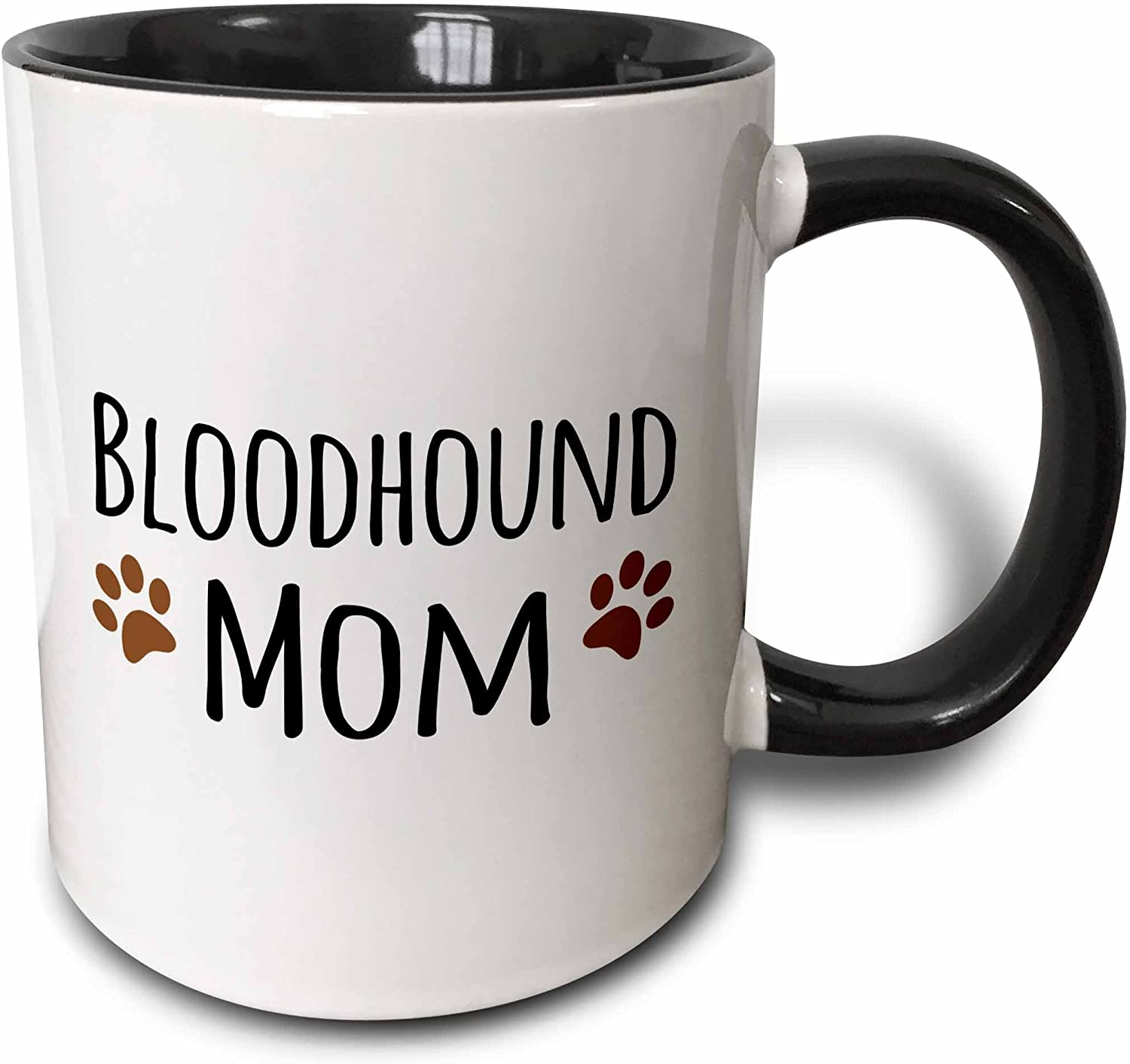 3dRose Bloodhound Dog Mom-Doggie by breed-brown muddy paw prints Mug, 11 oz, Black