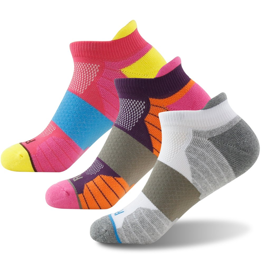 Getspor Men's Women's Sports Socks Multicolor, Cotton Fashion Thick Padded Sole Tab Sock Walking Running Jogging Cycling Left/Right Mark Low Cut Socks Big and Tall, 3 Pairs Multicolor by Getspor