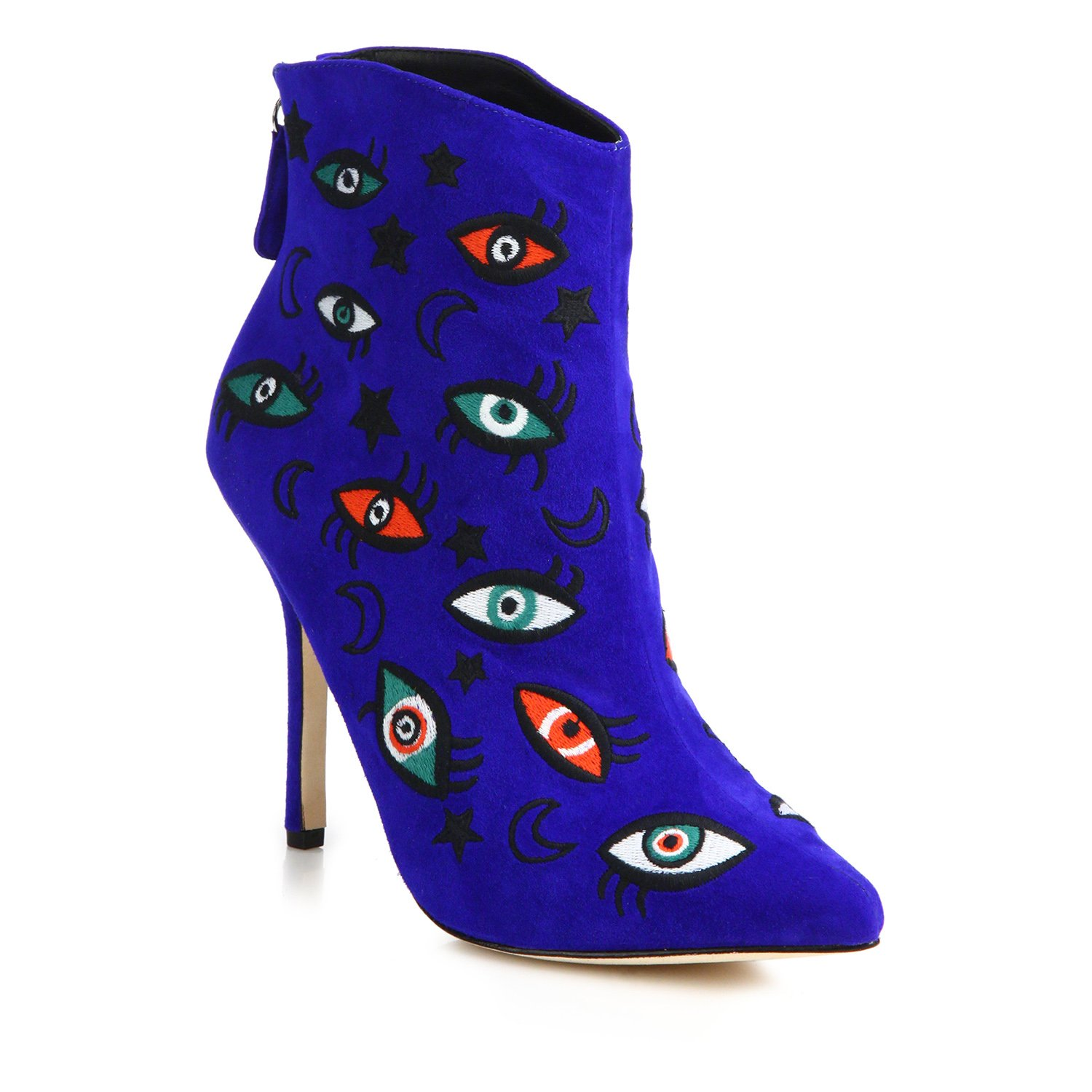 Isa Tapia Juliette Embroidered Eyes and Stars Blue Suede Point-Toe Booties - Blue Stars B079MGN826 6 M US 49abb6