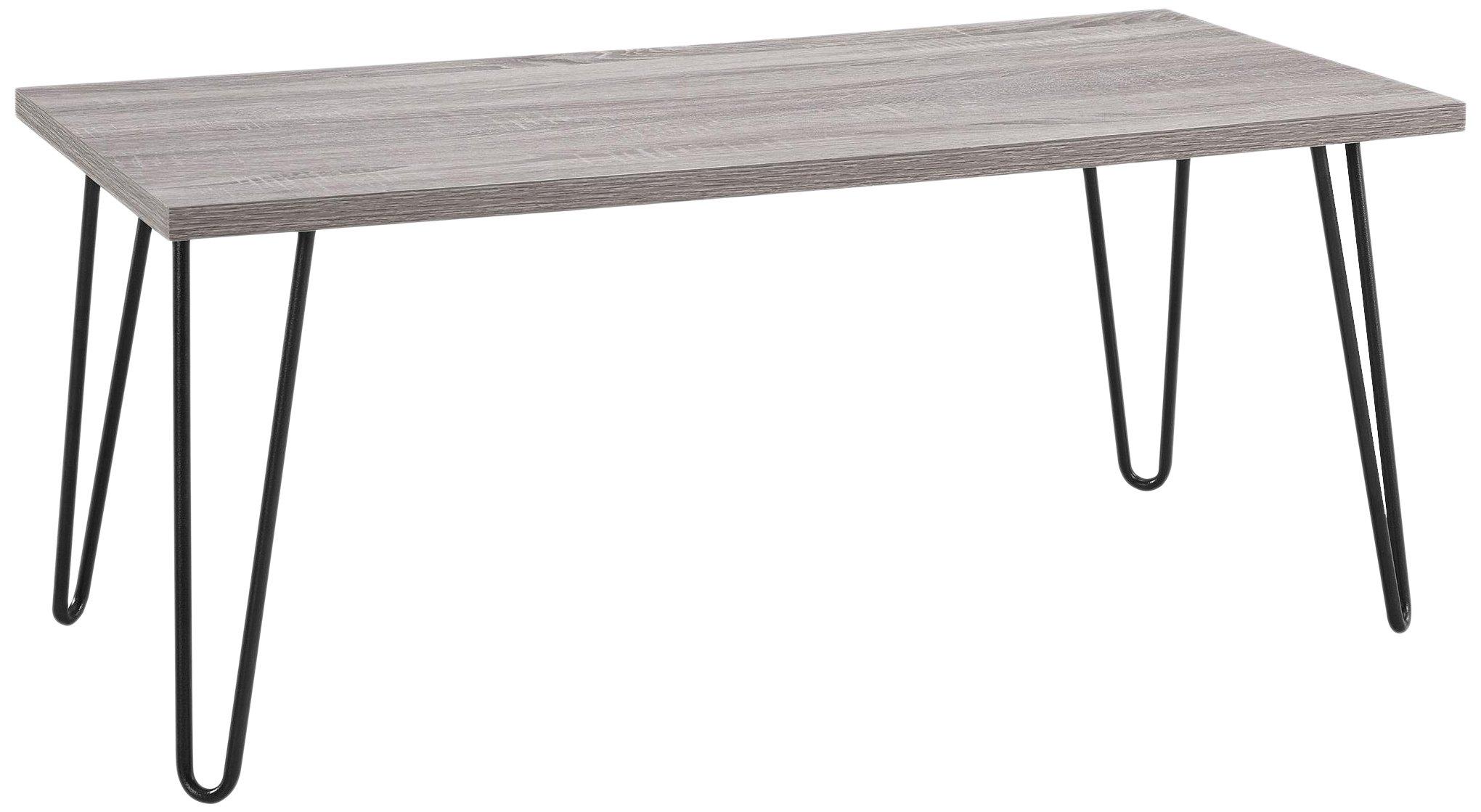 Ameriwood Home Owen Retro Coffee Table Metal Legs, Sonoma Oak Gunmetal Gray