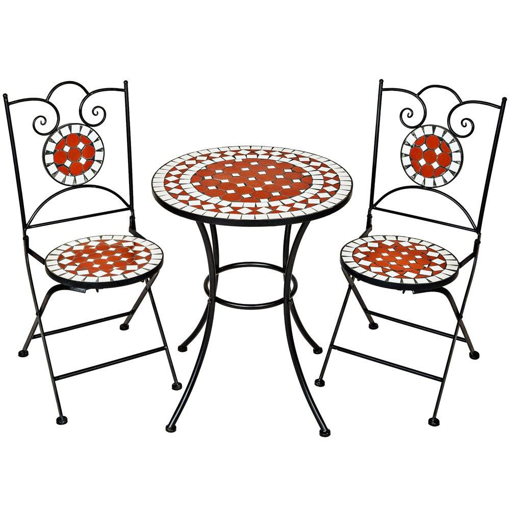 TecTake Robustes und Hochwertiges Mosaik Gartenmöbel Set 2 Stühle ...