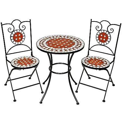 Set Tavolo E Sedie In Ferro Battuto.Tectake Set Arredo Giardino Mosaico Tavolo E Sedie In Ferro Con Terracotta Ceramica