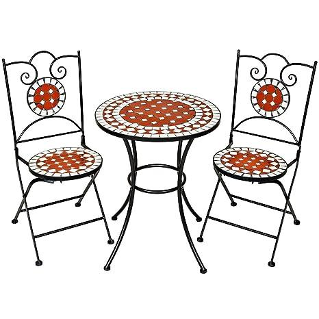 Sedie E Tavoli In Ferro Per Giardino.Tectake Set Arredo Giardino Mosaico Tavolo E Sedie In Ferro Con