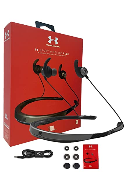 "Review JBL Under Armor Sport Wireless Flex In-Ear Wireless Stereo Headset - Signature Sound Pure Bass - Compatible Siri & Google"" - W/Extra Ear Gel & Car/Wall Charger - Retail Kit (Certified Refurbished)"