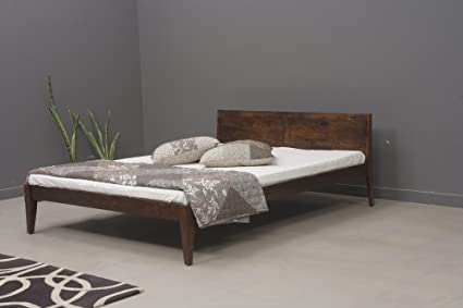 Heritage Prime Bizz Solid Wood Queen Size Bed Rich Brown Finish
