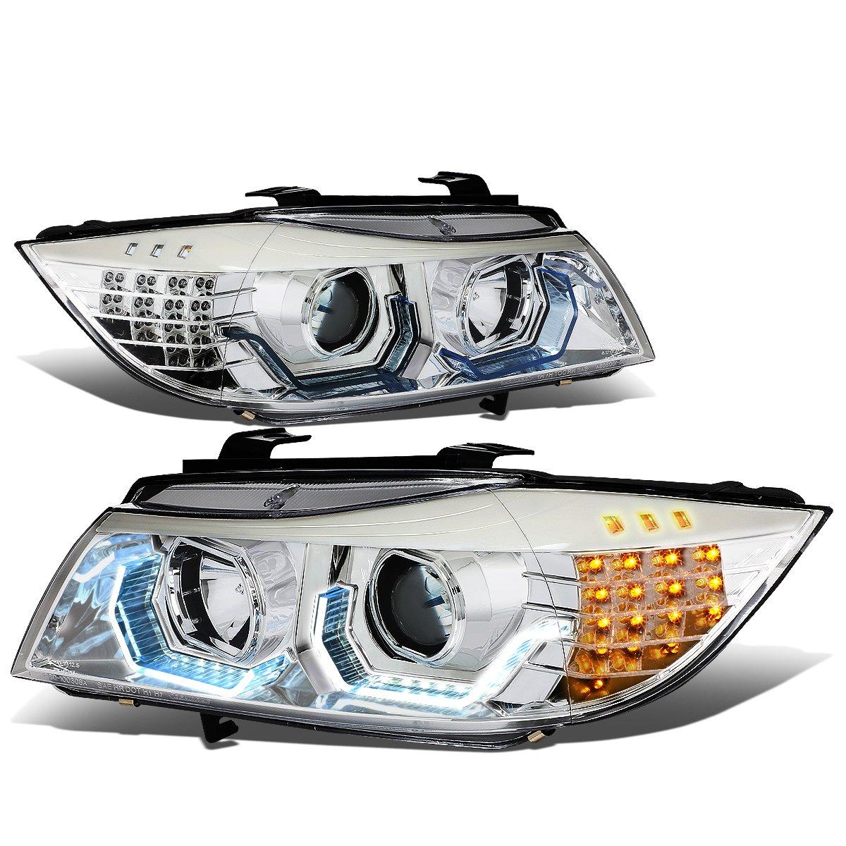 06-08 BMW E90 DNA Motoring Chrome Housing White HL-3D-E9005-CH-NEW 3D Halo Angle Eye Projector Headlight Black