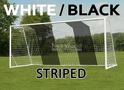cb6bd3e24 Striped Soccer Goal NET - White/Black- Official Full Size FIFA Spec - 24x8