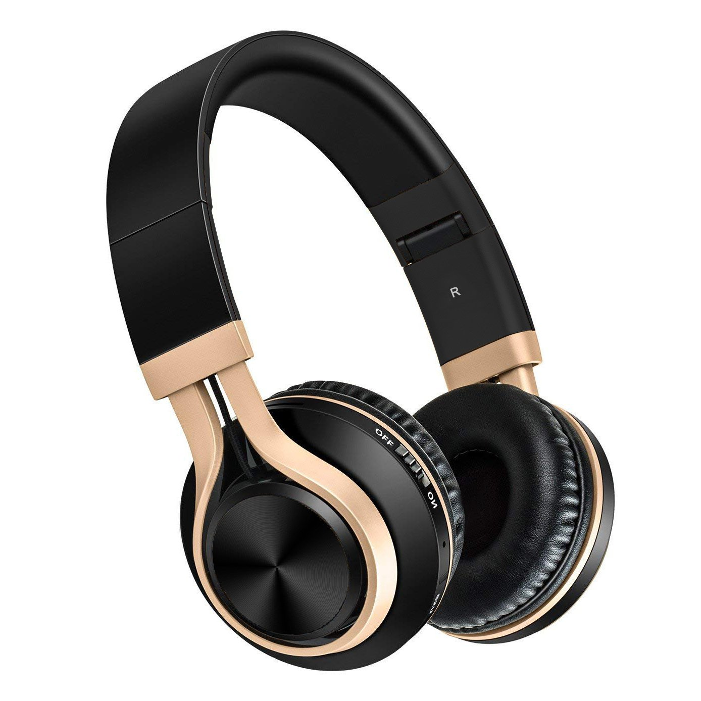 Baseman Foldable Wireless Bluetooth Headphones V4.2 Over-Ear Hi-Fi Stereo Earphones Headsets with Microphone and Wired Mode (Gold)