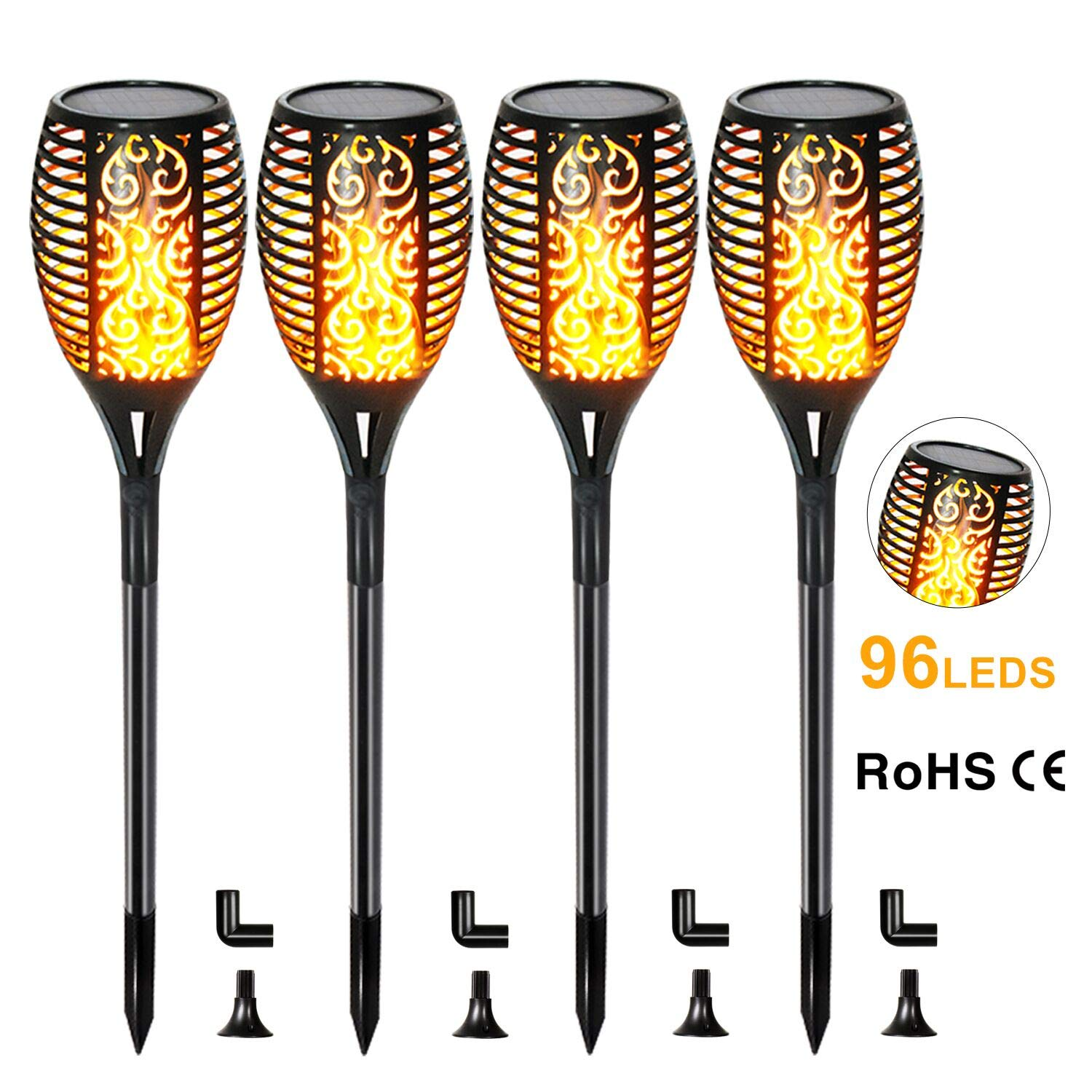 FUDESY 4-Pack Solar Torch Lights,Flickering Flames Lamp LED Outdoor Spotlights Landscape Decoration Lighting Dancing Flame Auto On/Off Dusk to Dawn Security Torches Light for Pathway Garden,FDS96PCS4
