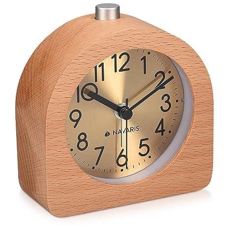 Analog Holz Uhr Wecker mit Snooze Ziffernblatt Alarm Licht Naturholz