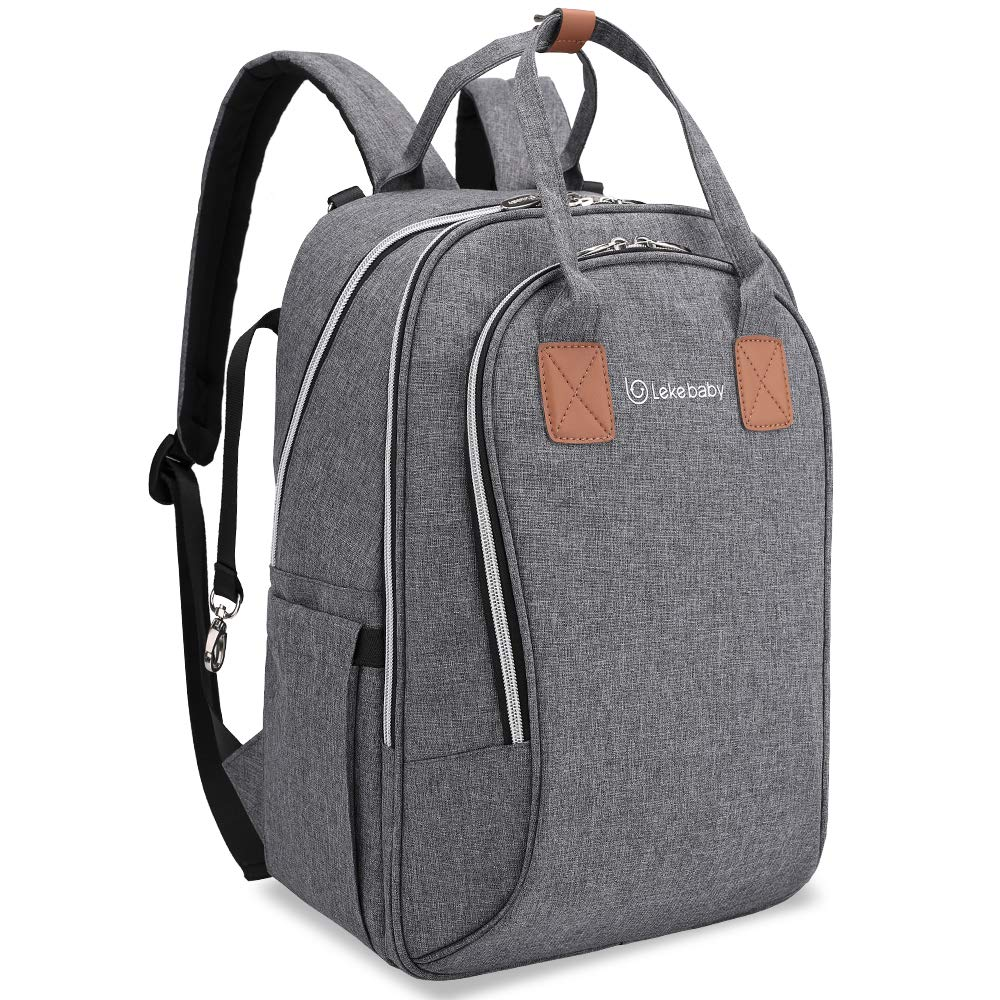 Lekebaby Diaper Bag Backpack Large Capacity with Changing Pad and Stroller Straps Unisex for Mom, Gray