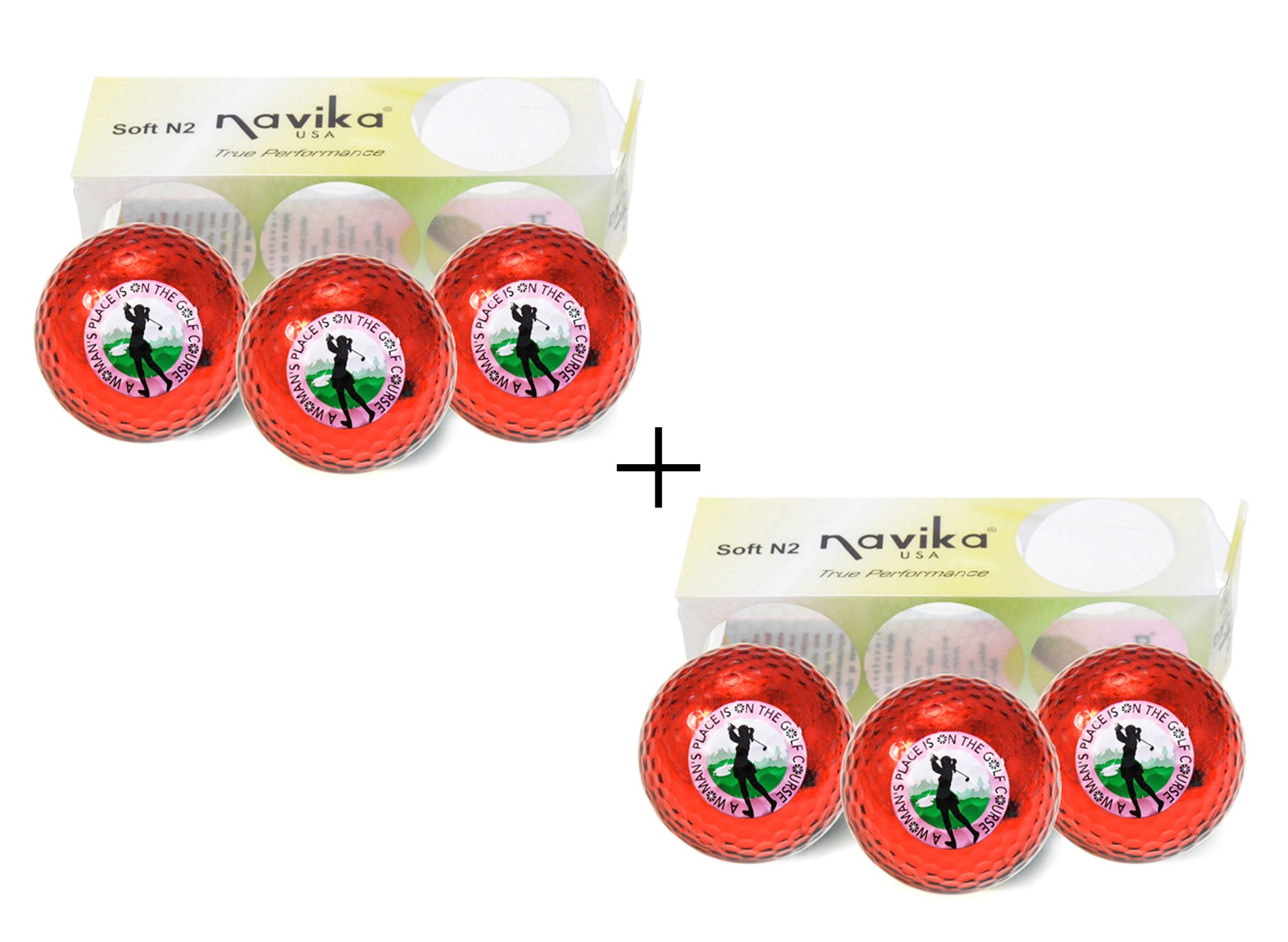 Navika Golf Balls-A Woman's Place is on the Golf Course Imprint on Red Metallic Chrome High Visibility Color (6-Pack)