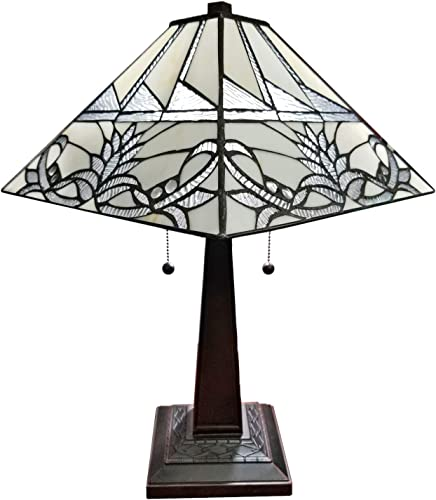 Amora Lighting AM312TL14B Tiffany Table Lamp, White,Medium