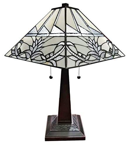 Amora Lighting AM312TL14B Tiffany Table Lamp, White