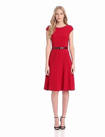 Anne Klein Women's Solid Matte Jersey Dress, Cardinal, 2