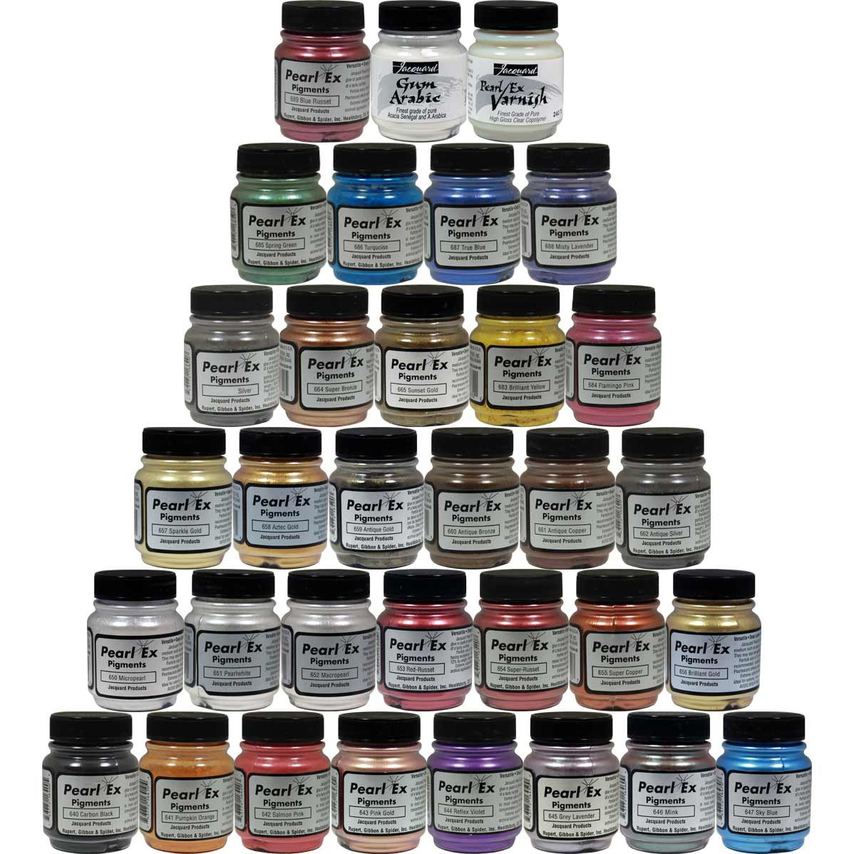 Jacquard Custom Pearl Ex Powdered Pigments 33 Color Set