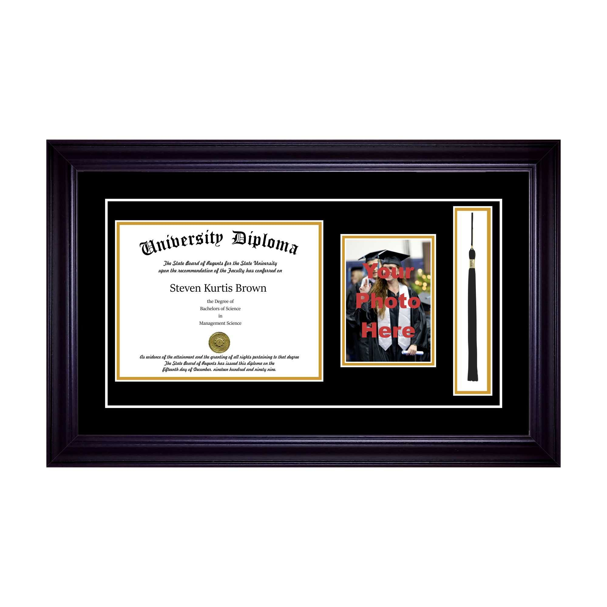 Single Diploma Frame with 5x7 Photo, Tassel and ouble Matting for 14'' x 11'' Tall Diploma with Black 2'' Frame