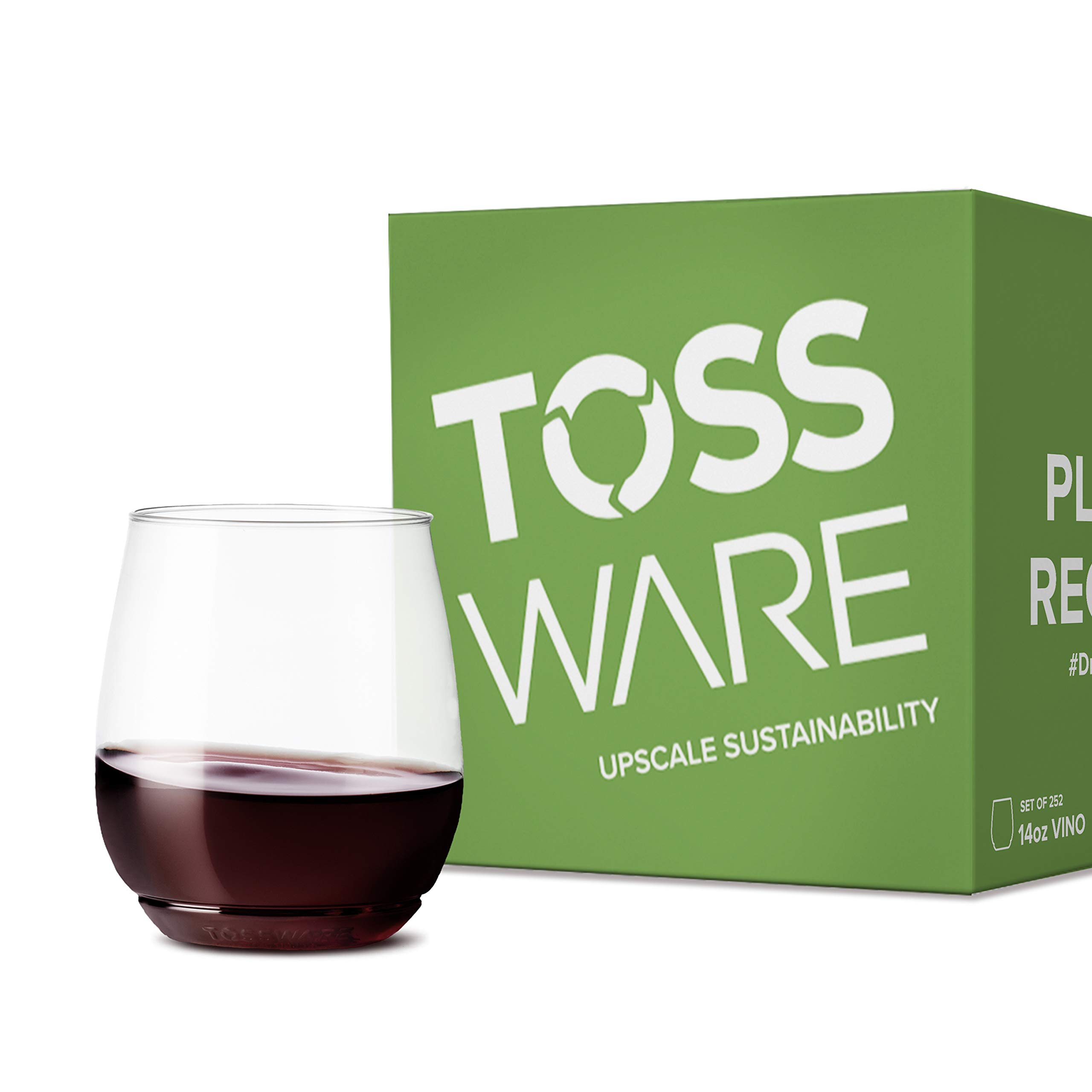 TOSSWARE Recyclable Plastic Cup-Set of 252-stemless, shatterproof and BPA-Free Wine Glasses, 14oz Vino, Clear