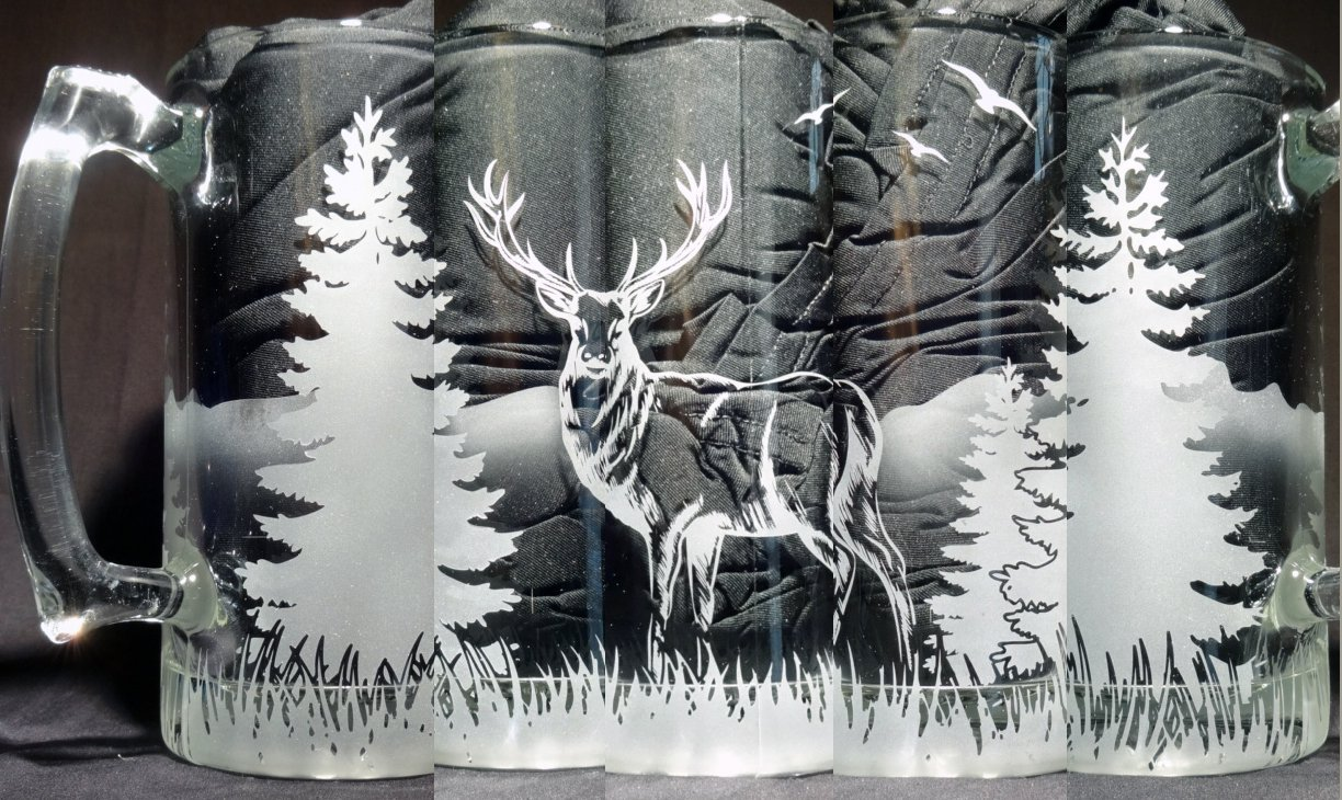 Standing Deer Mug, Etched Glass, Nature Scene, Hunter Gift