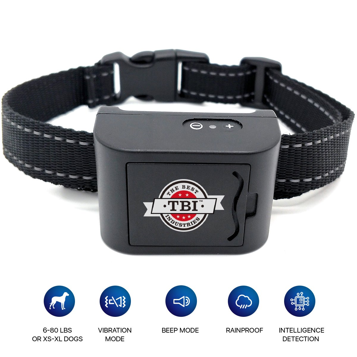 [NEW 2018 HUMANE] Bark Collar Vibration Mini for Small, Medium Dogs with NEW UPGRADED Smart Chip - Best Intelligent Dog Anti-Barking Collar w/Beep/Vibration Modes for Dogs 6-80 LBS