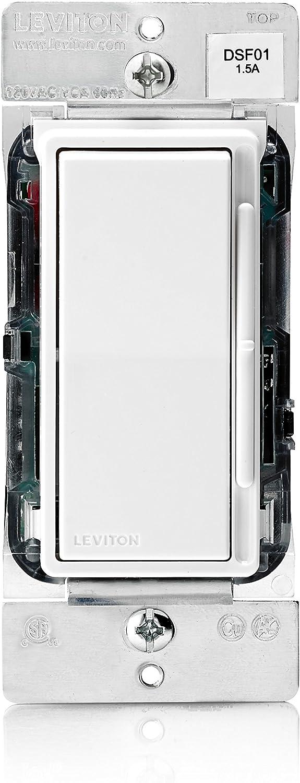 Leviton DSF01-10Z Decora Rocker Slide 1.5A Quiet Fan Speed Control, White