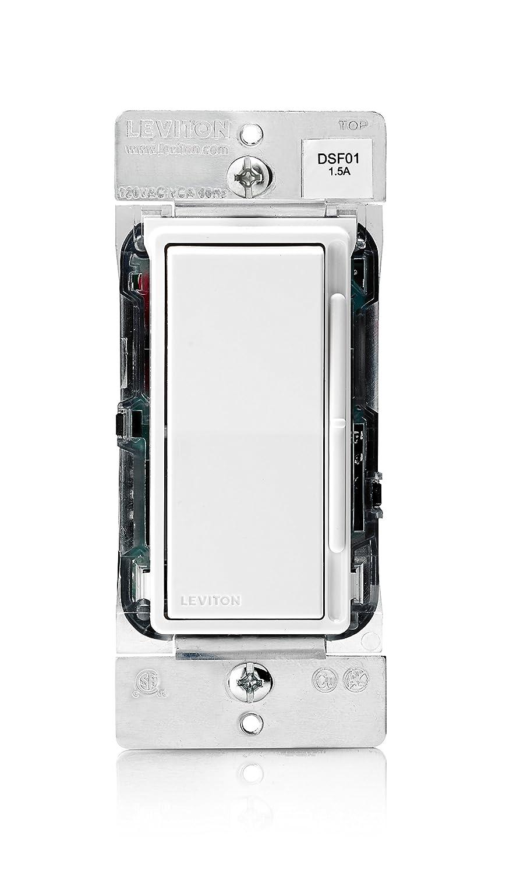 Leviton DSF01-10Z Decora Rocker Slide Fan Speed Control, 1.5 A-120VAC at 60Hz, White