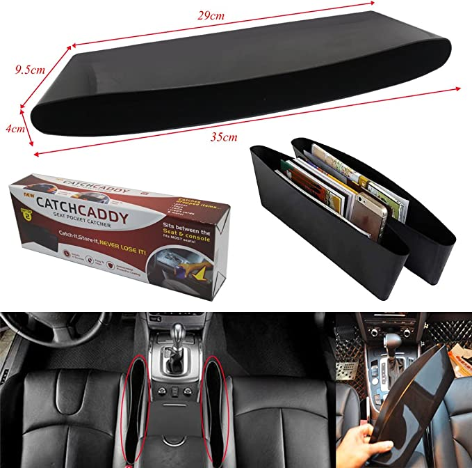 T Sports Carbon Fiber Car Seat Storage Box Slit Pocket Catch Catcher Pouch