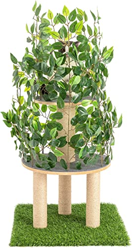 Scurrty Cat Trees with Leaves Cat House Cat Condo Furniture Kittens Activity Tower with Sisal-Covered Scratching Posts for Kittens, Cats and Pets