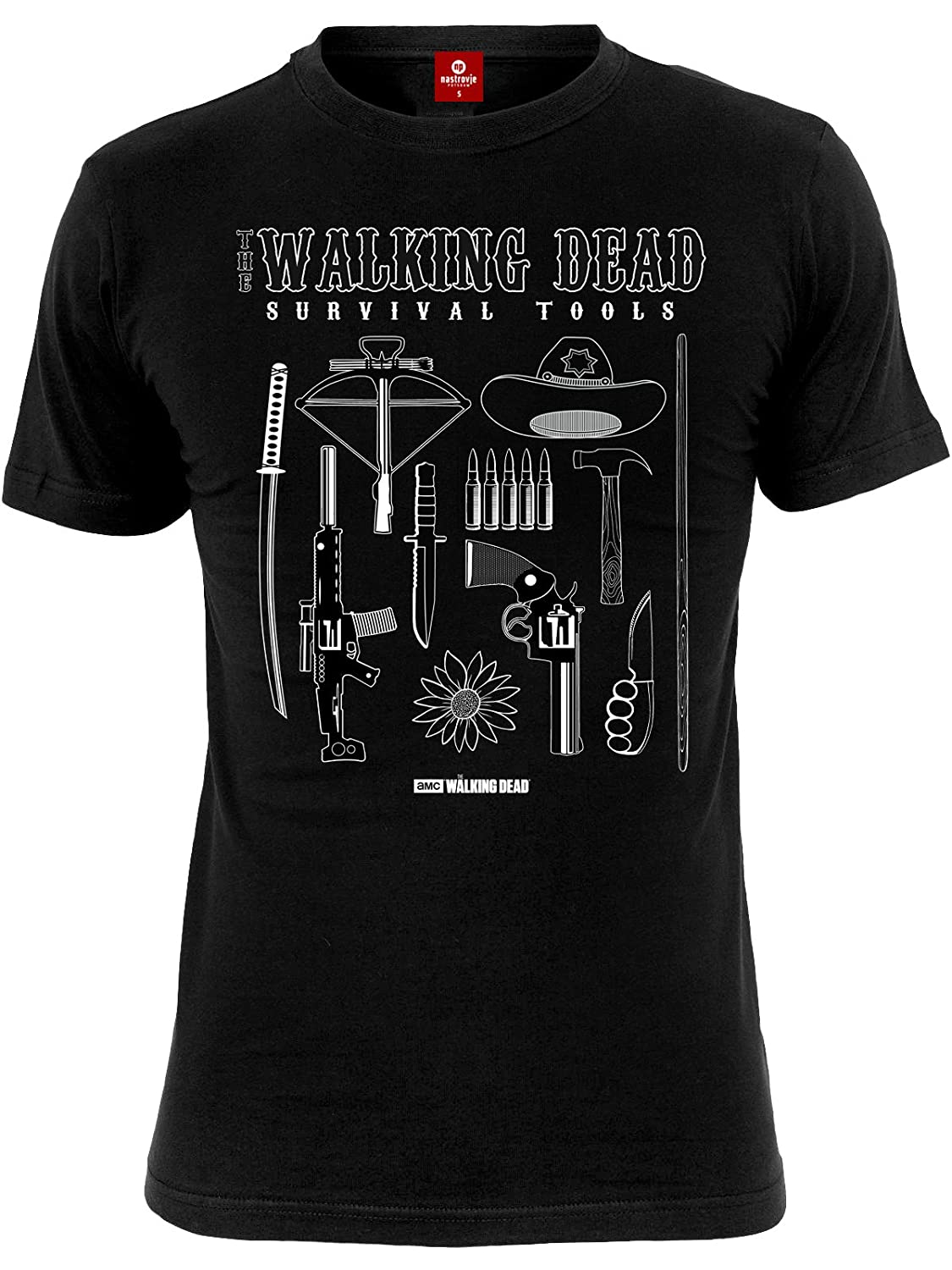 Mens Black Walking Dead Survival Kit T Shirt