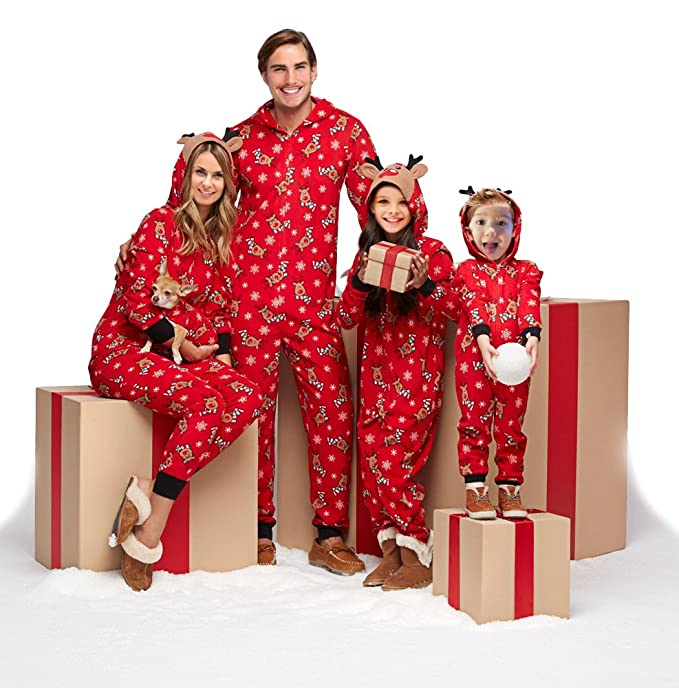 family matching christmas pajamas set sleepwear jumpsuit hoodie with hood for family men s