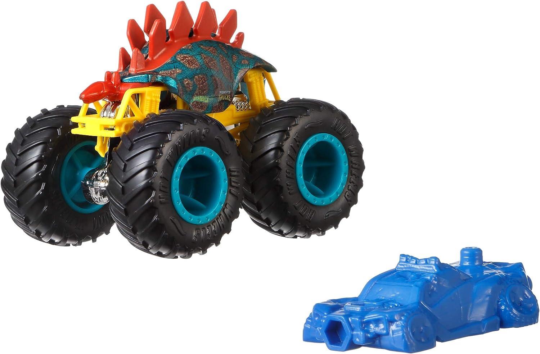 Amazon Com Hot Wheels Gjy23 Monster Trucks 1 64 Scale Die Cast Vehicle Motosaurus Multicolour Assorted Models Toys Games