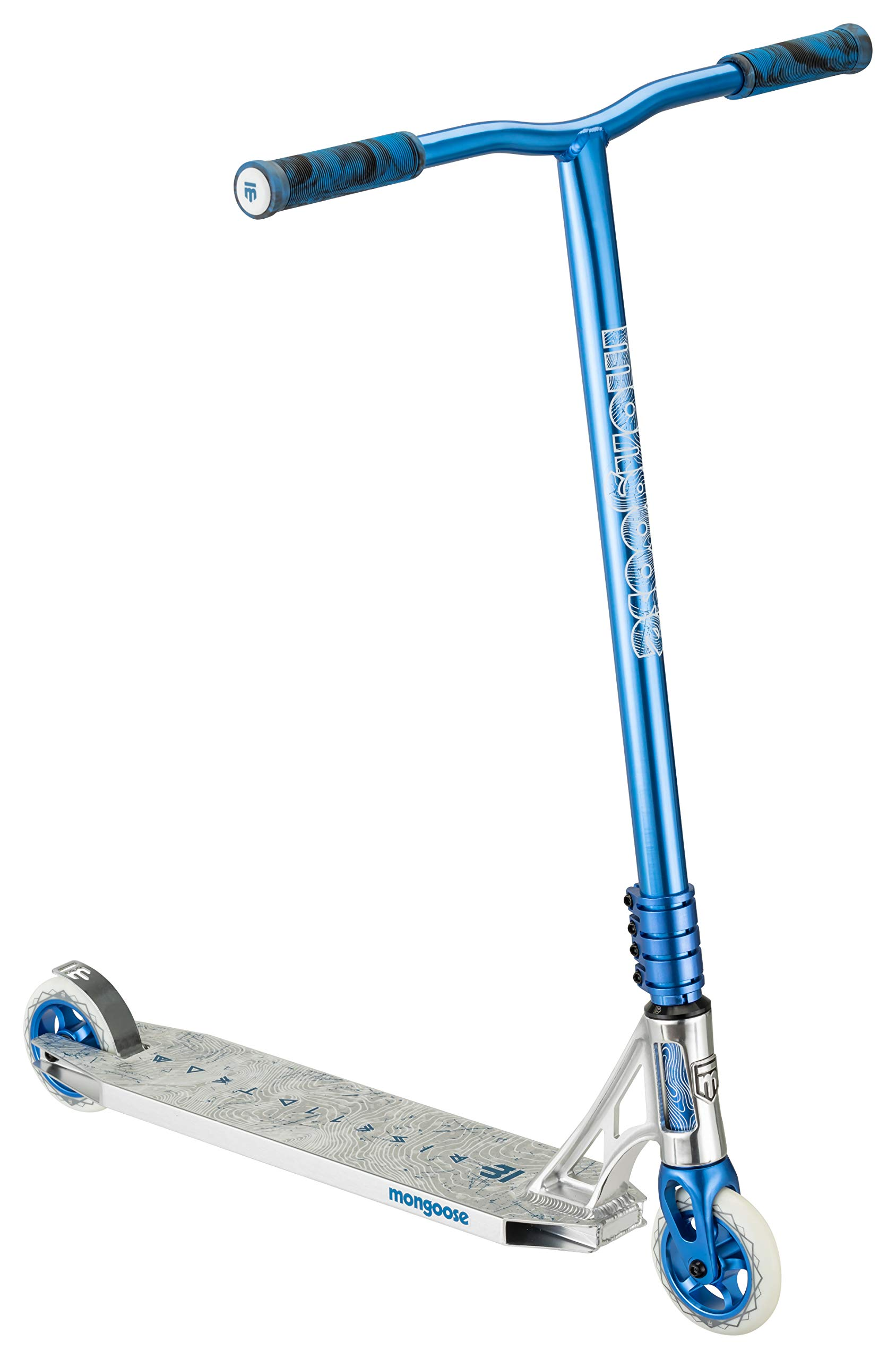 Mongoose Rise 110 Team Freestyle Stunt Kick Scooter, Featuring Lightweight Alloy Deck with Full-Coverage Max Grip and Bike-Style Handlebars, 110mm Alloy Wheels, Silver/Blue