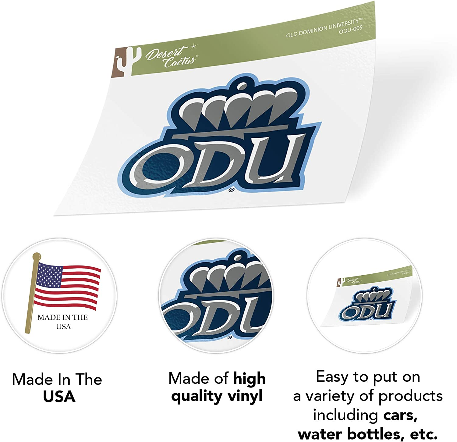 Sticker - 005 Old Dominion University ODU Monarchs NCAA Vinyl Decal Laptop Water Bottle Car Scrapbook