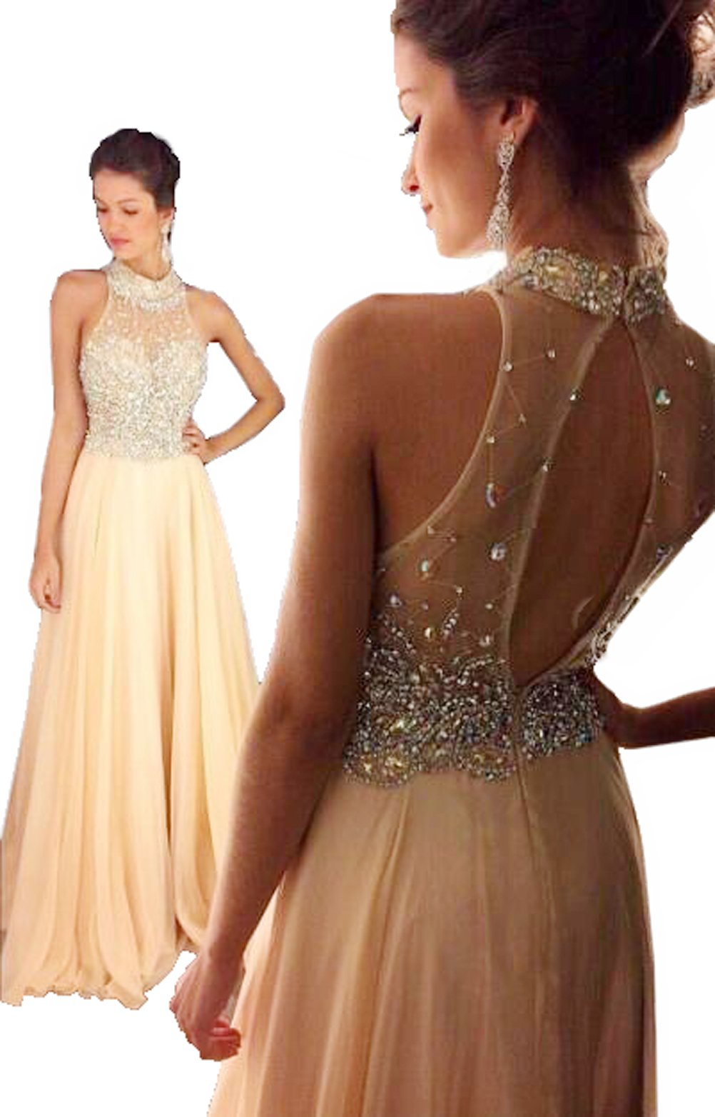 Fanciest Women's Crystal Beaded Prom Dresses 2017 Long Evening Gowns Formal Champagne US6