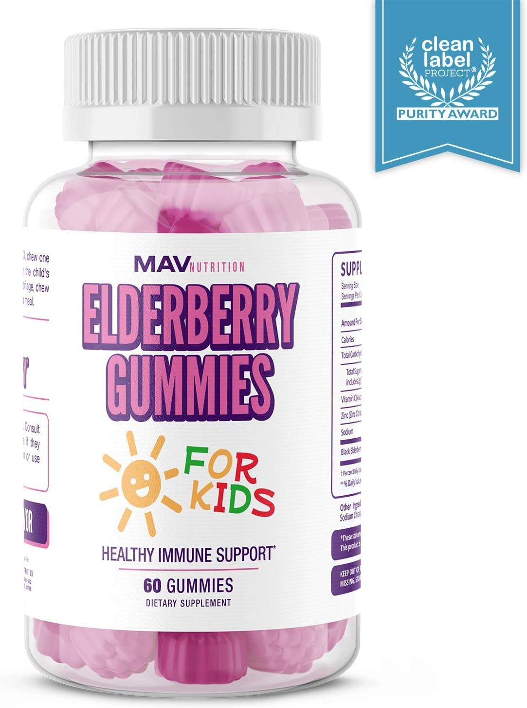 MAV Nutrition Elderberry Gummies Immune System Booster for Kids Vitamins with Vitamin C