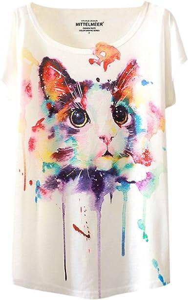LAEMILIA T-Shirt Femme Imprimé Aquarelle