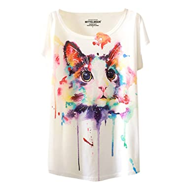 13e08896d41 LAEMILIA T-Shirt Femme Imprimé Aquarelle Motif Animal Mignon Lâche Casual  Manches Courtes Tee Veste