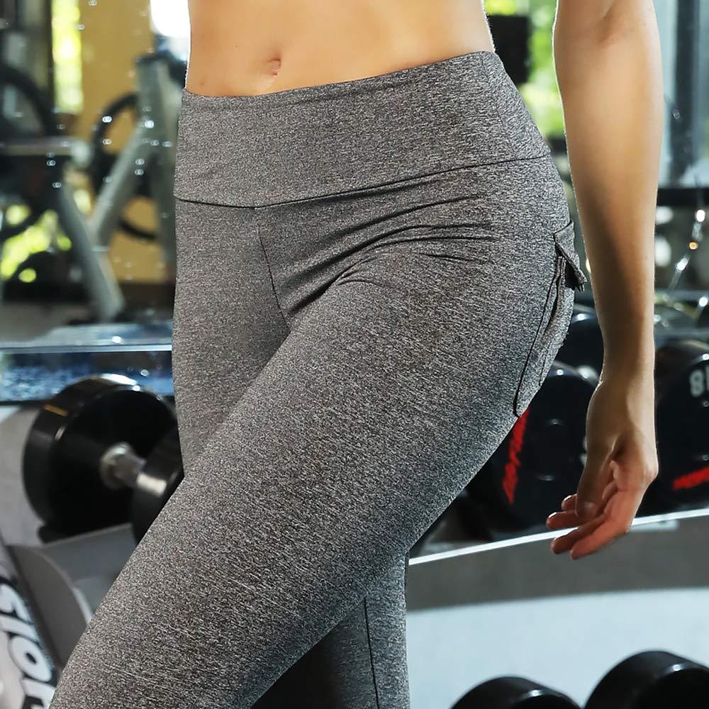 FIYOMET High Waist Yoga Pants Out Pocket Moisture Wicking Belt Sport Pant Leggings Tight Fitness Sweatpants