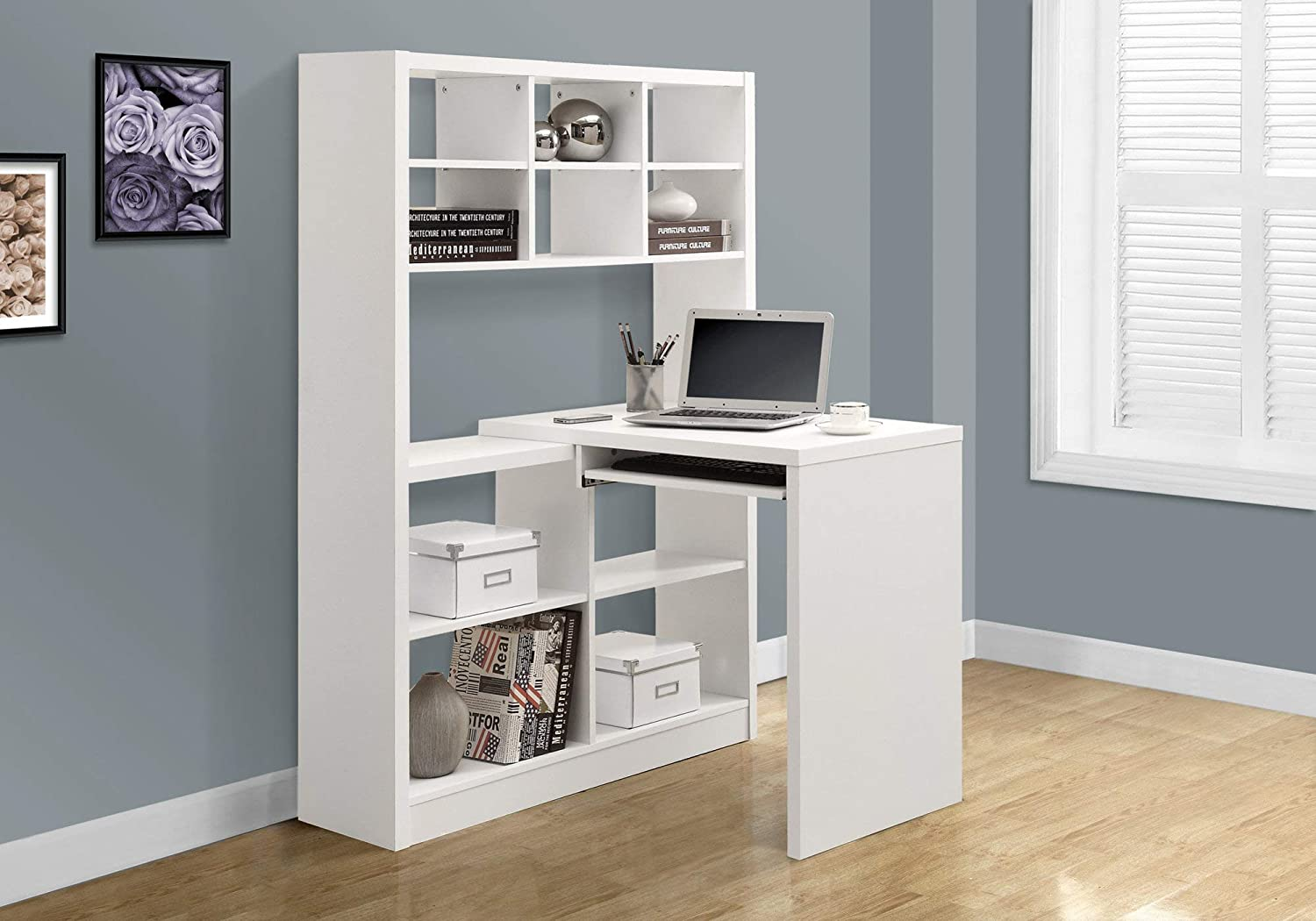 Monarch Specialties I 7022 White Hollow Core Left//Right Facing Desk and Shelf Combo