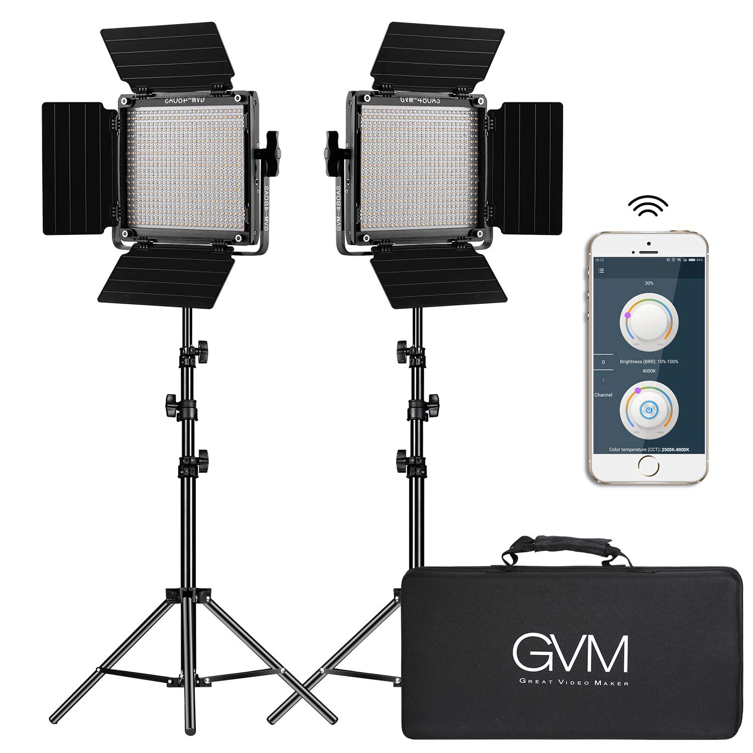 GVM 2 Pack LED Video Lighting Kits with APP Control, Bi-Color Variable 2300K~6800K with Digital Display Brightness of 10~100% for Video Photography, CRI97+ TLCI97 Led Video Light Panel +Barndoor by GVM Great Video Maker
