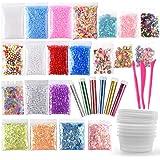 FEPITO 35 Pcs Slime Kit incluyen bolas pecera, Bolas espuma, Glitter, confeti, Contenedores almacenamiento, Herramientas lodo para el arte del bricolaje Slime hecho en casa(No contiene limo)