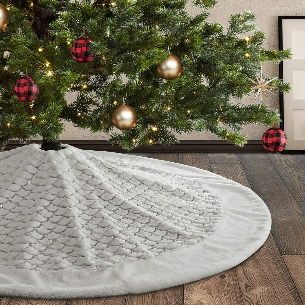 Meriwoods Christmas Tree Skirt 48 inches Large Luxury Thick Xmas Decorations White Plush Faux Fur with Silver Sequin Snowflakes