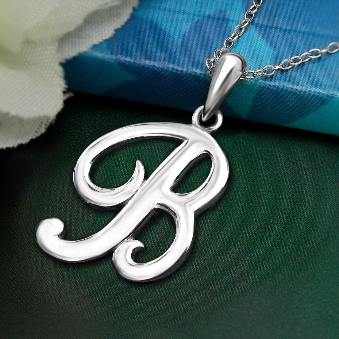Sea of Ice Sterling Silver Initial Alphabet Letters Pendant Necklace from A-Z 18 inch