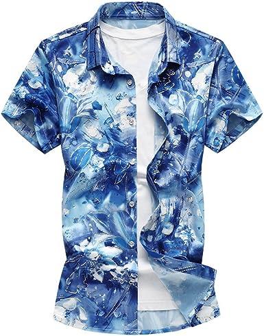 WanYangg Hombre Camisas Hawaianas Manga Corta Verano Camisa Estampado Floral Tropical Hawaiana Camisas Verano de Fiesta tee Top Azul XL: Amazon.es: Ropa y accesorios