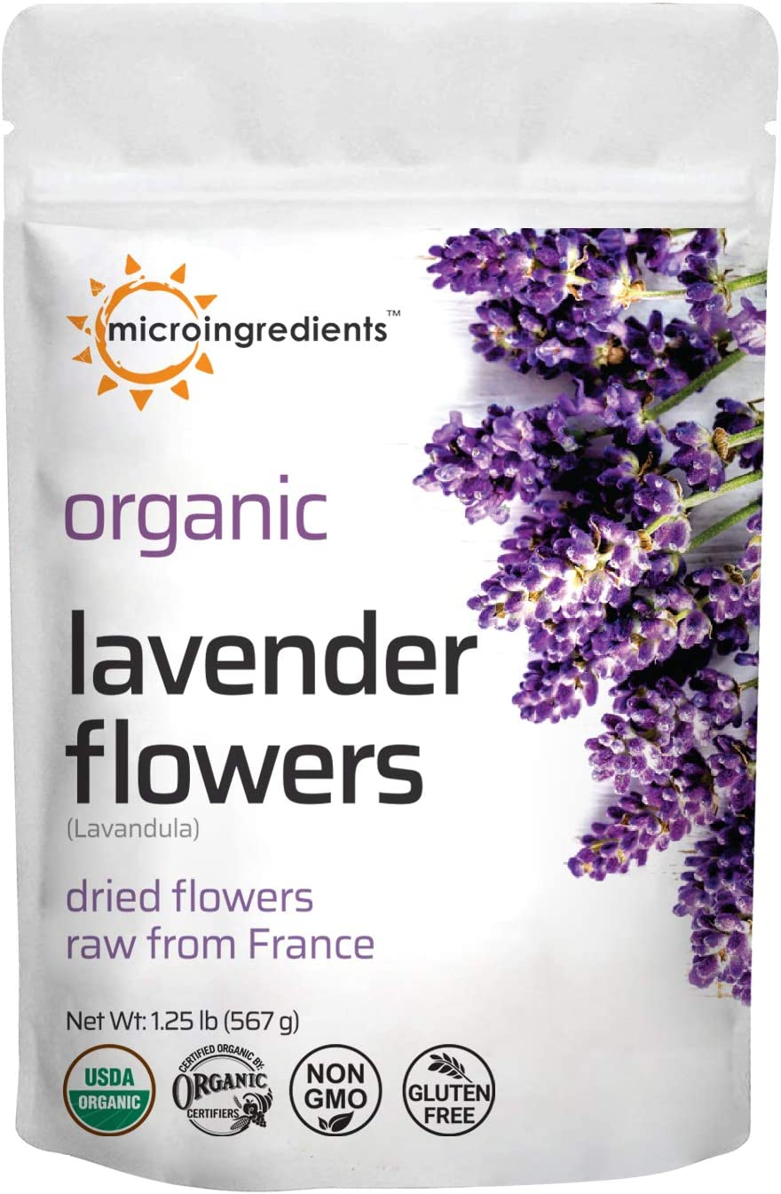 Organic Lavender Flowers, Dried, Raw from France, All Natural, Fresh Fragrance, Premium Quality for Tea, Baking, Bath, Non-GMO, No Gluten, 1.25 Pound (20 Ounce)