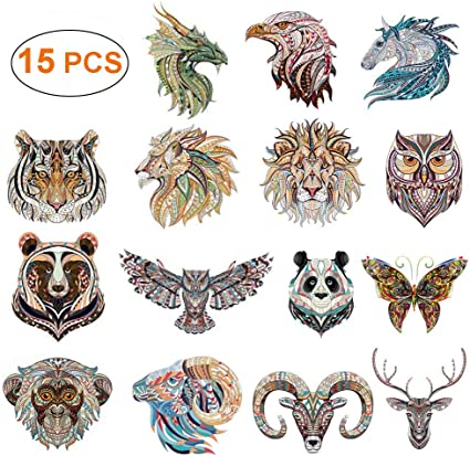 Unicorn Wolf Tiger Feather Patches Iron on Clothes Stickers DIY Thermal Transfer