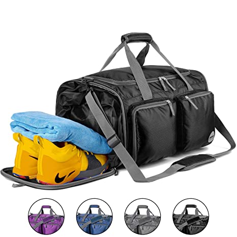 464fdc97776677 WANDF Foldable Gym Bag Packable Travel Duffle with Large Wet Bags & Shoes  Compartment, Super